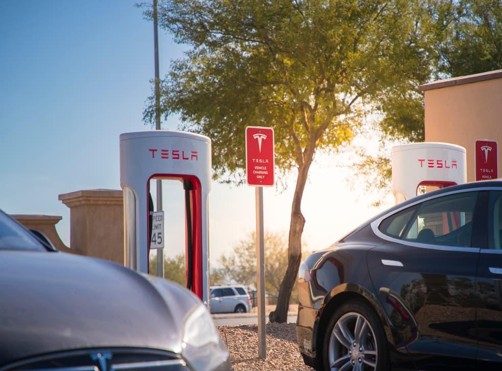 <p>Tesla Supercharger charging station in Las Vegas, Nevada.</p>