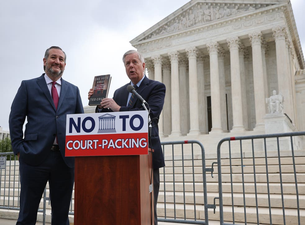 <p>Senators Graham and Cruz speak out against expanding Supreme Court during a news conference </p>