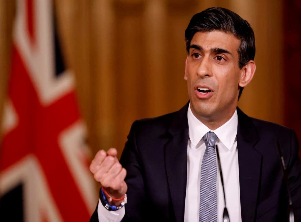 <p>Chancellor Rishi Sunak hosts a press conference in Downing Street</p>