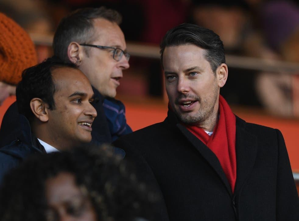 <p>Arsenal director Josh Kroenke (right) with CEO Vinai Venkatesham (left)</p>