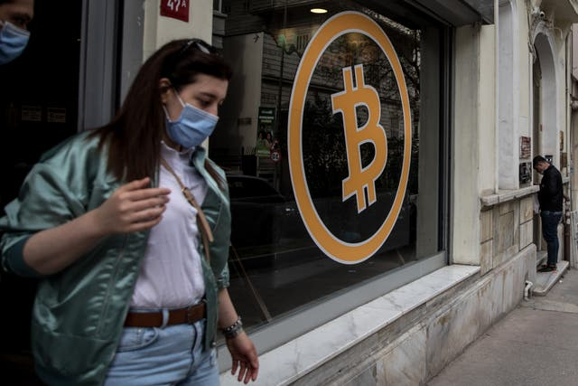 People leaving a cryptocurrency exchange office, Istanbul, Turkey