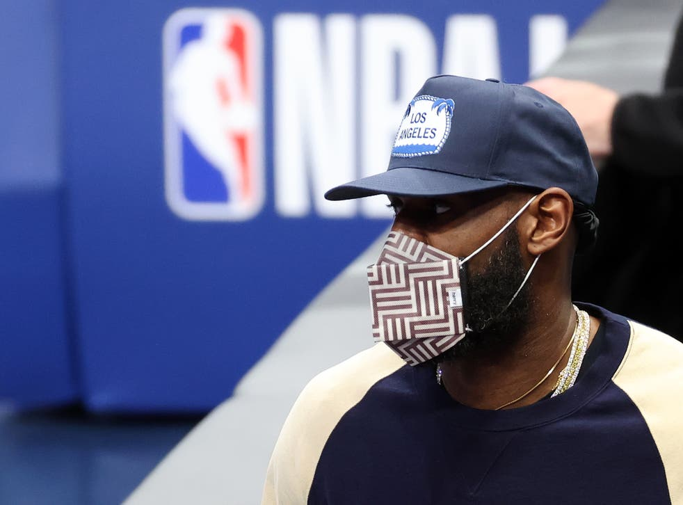 <p>LeBron James during the Los Angeles Lakers v Dallas Mavericks game in Texas on Thursday</p>
