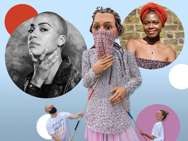 <p>The show must go on... From L-R: Cush Jumbo in 'Hamlet', 'The Walk', 'Lava' writer Benedict Lombe</p>