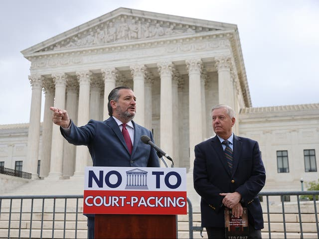 Ted Cruz and Lindsey Graham hold a news conference to voice their opposition to adding justices to the Supreme Court on April 22, 2021.