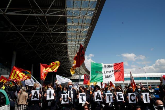 Italy Alitalia Protest