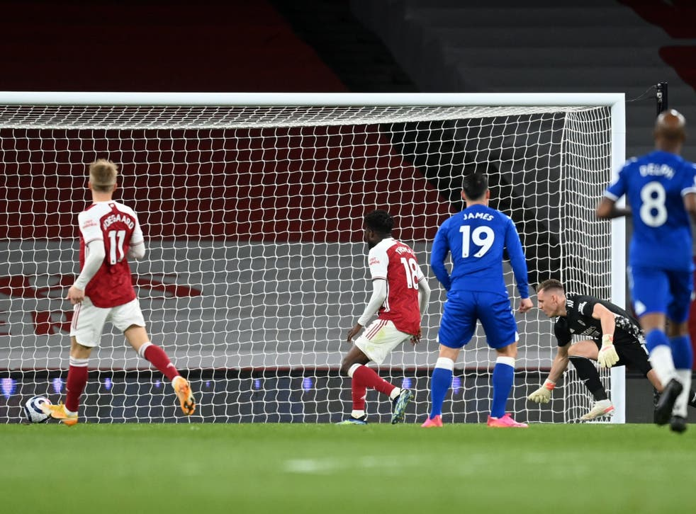 Bernd Leno, right, watches his own goal cross the line