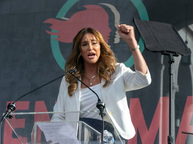 <p>Caitlyn Jenner speaks at the 4th Women's March in Los Angeles on 18 January 2020</p>