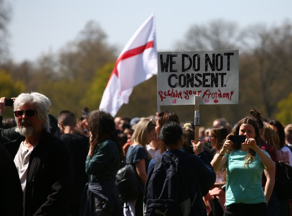Protesters gathered in central London for a 'Unite For Freedom' demonstration against lockdown restrictions