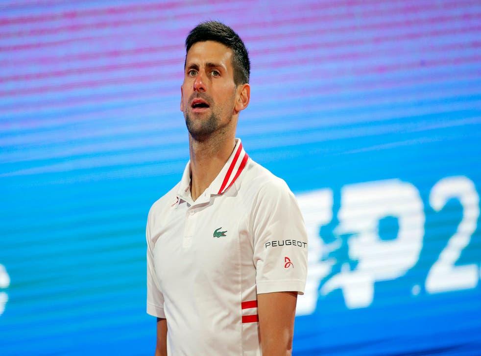 Novak Djokovic reacts during the Serbia Open semi-final against Aslan Karatsev