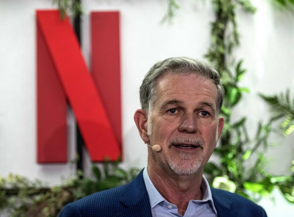<p>Co-founder and director of Netflix Reed Hastings delivers a speech as he inaugurates the new offices of Netflix France, in Paris on 17 January, 2020</p>