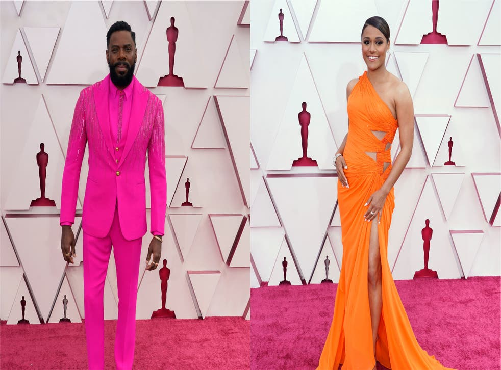 Composite pic of Colman Domingo and Ariana DeBose on the red carpet at the Oscars