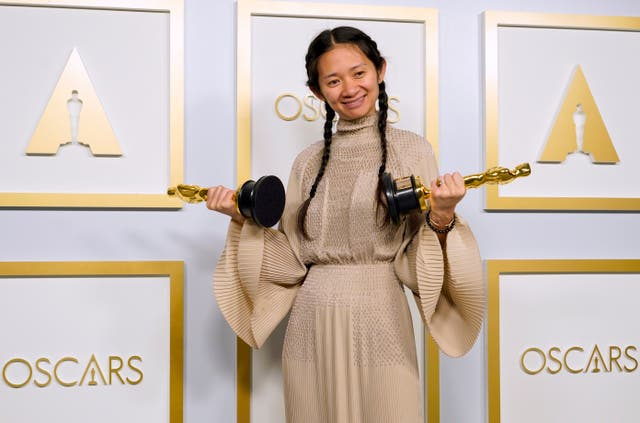"""<p>Chloe Zhao, winner of the award for best picture for """"Nomadland""""</p>"""