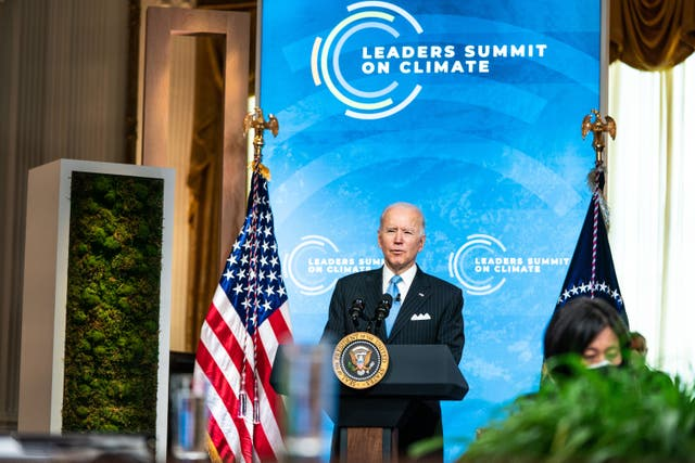 <p>US President Joe Biden delivers remarks during day 2 of the virtual Leaders Summit on Climate at the East Room of the White House 23 April 2021 in Washington, DC</p>