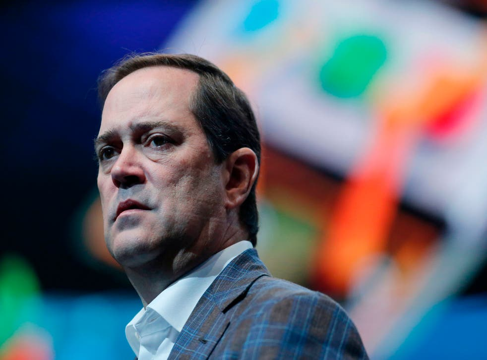 Cisco Systems chief executive officer Chuck Robbins delivers a keynote speech at the Mobile World Congress (MWC) in Barcelona
