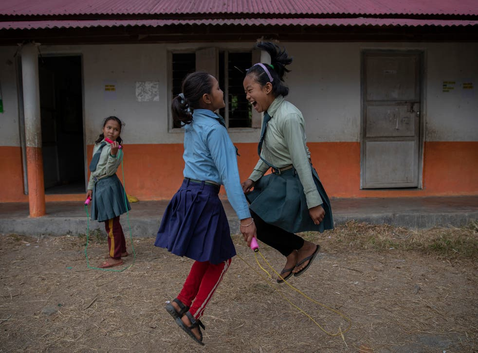 <p>Pupils skipping during a break at the United World Schools Heluwabesi school in Nepal</p>