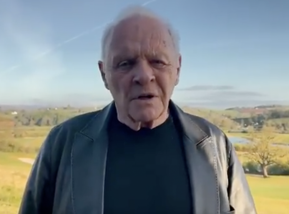 <p>The Welsh landscape is the stage for Anthony Hopkins's pandemic  'acceptance speech' on Monday</p>