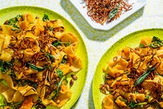 Turn your butternut squash seeds and skin into a crunchy pasta topping