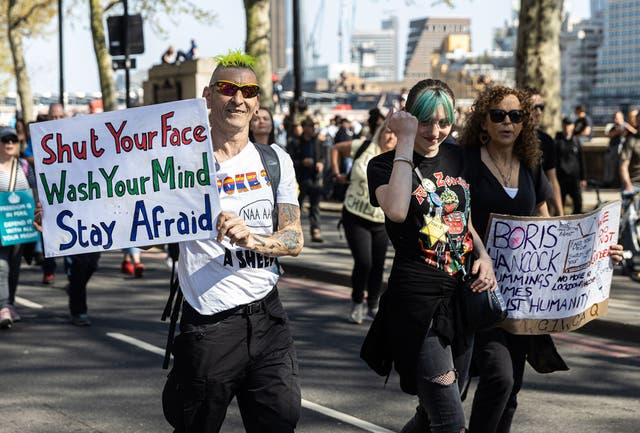 <p>Protesters took to the streets across London for an anti-lockdown march this weekend</p>