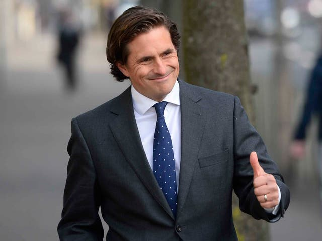 Ex veterans commissioner Johnny Mercer arrives at Laganside Courts in Belfast where two former paratroopers deny murdering a man in Northern Ireland in 1972