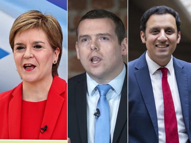 SNP leader Nicola Sturgeon, Scottish Tory leader Douglas Ross and Scottish Labour leader Anas Sarwar