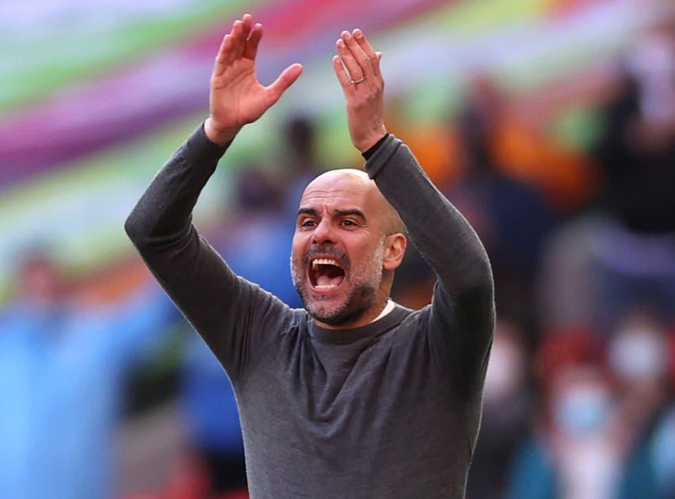 Manchester City coach Pep Guardiola during Sunday's Carabao Cup final