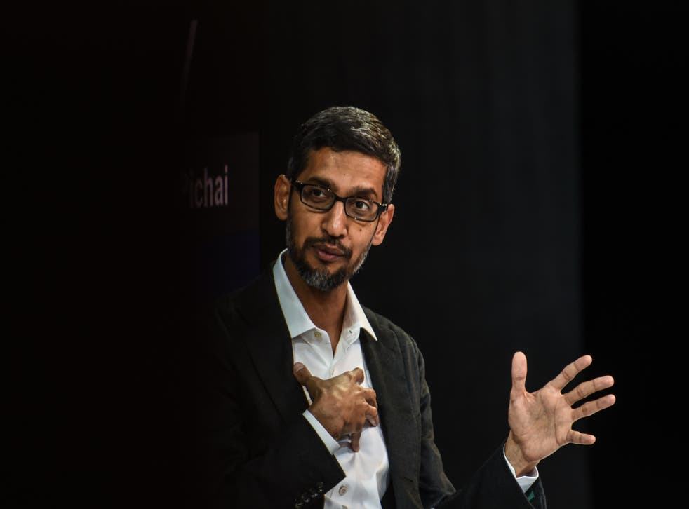 Sundar Pichai speaks at the New York Times DealBook conference in New York City