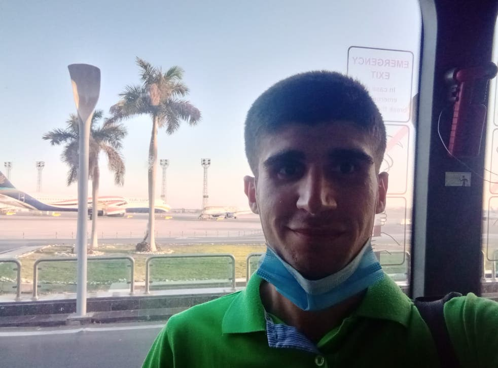 Mohammad Aisha at the airport in Egypt on his way home to Syria