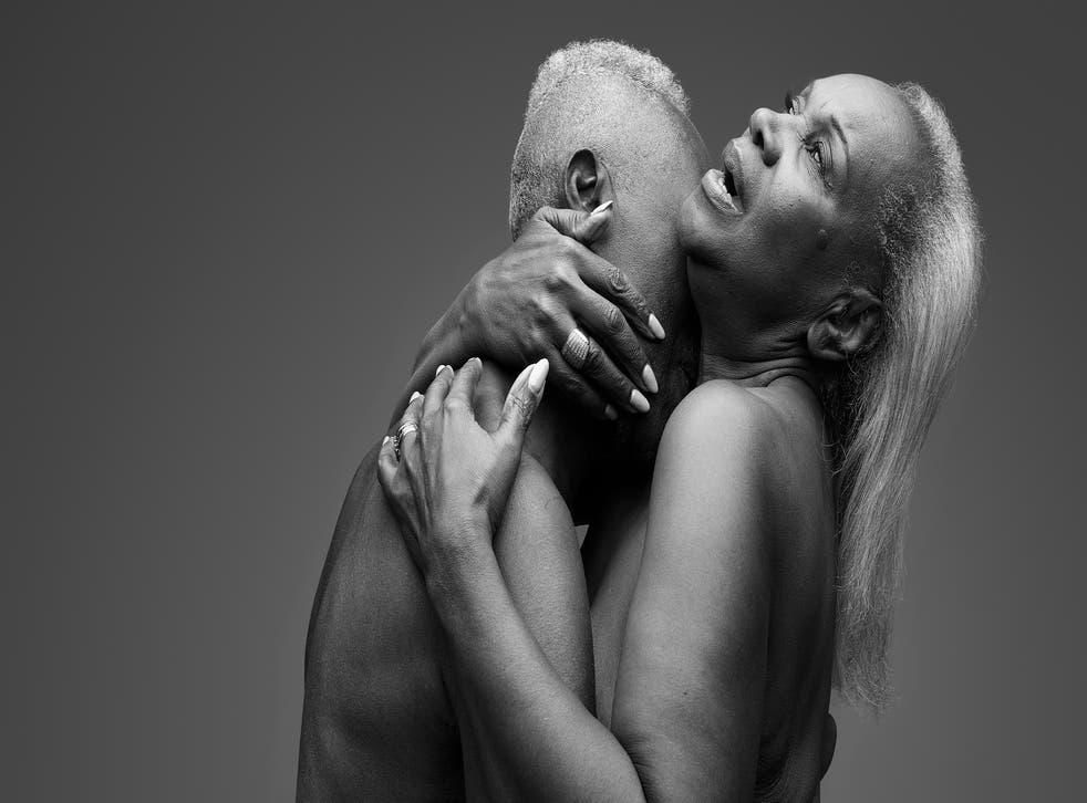 Older couple embracing passionately