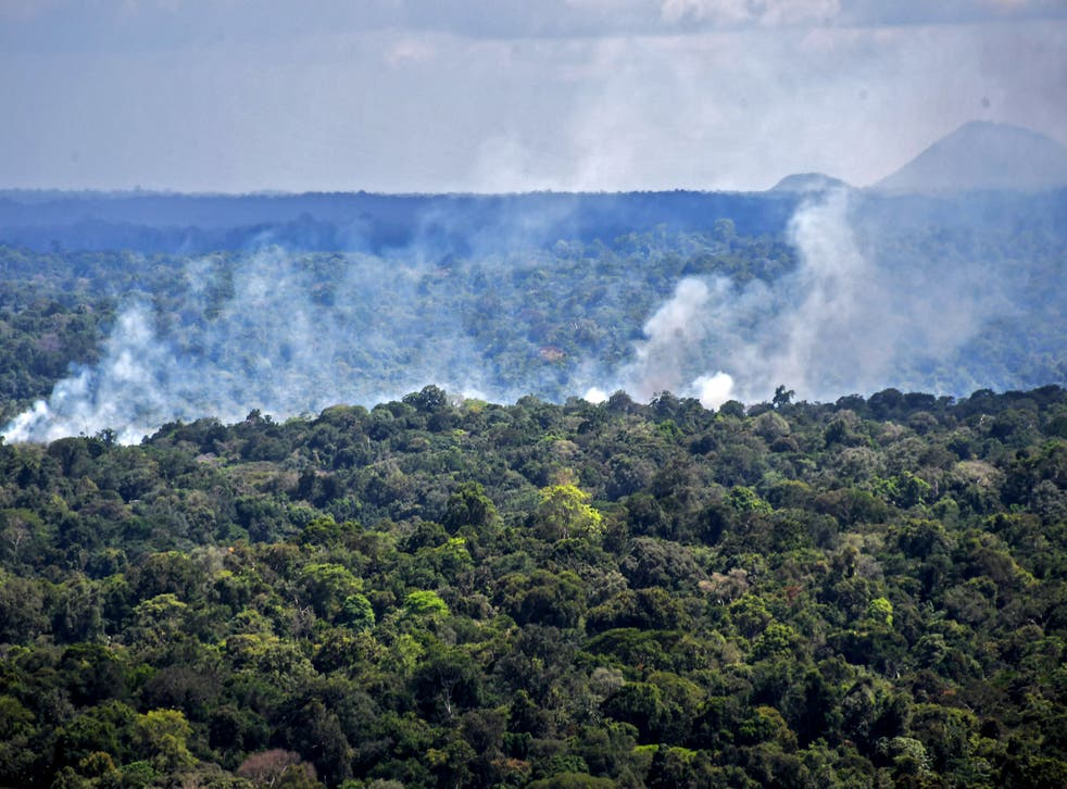 Aerial view showing smoke from a fire billowing from the Amazon rainforest in Oiapoque, Amapa state, Brazil