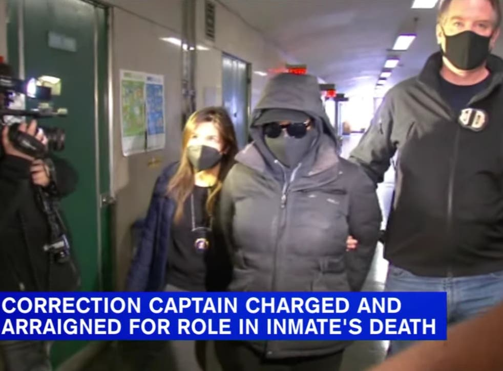<p>NY corrections department captain Rebecca Hillman appears in court on Tuesday</p>