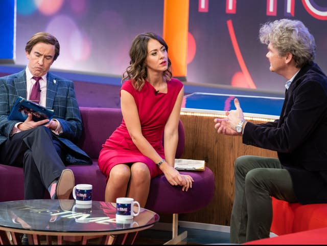 Excruciatingly convincing: Steve Coogan, Susannah Fielding and Simon Farnaby on the set of This Time