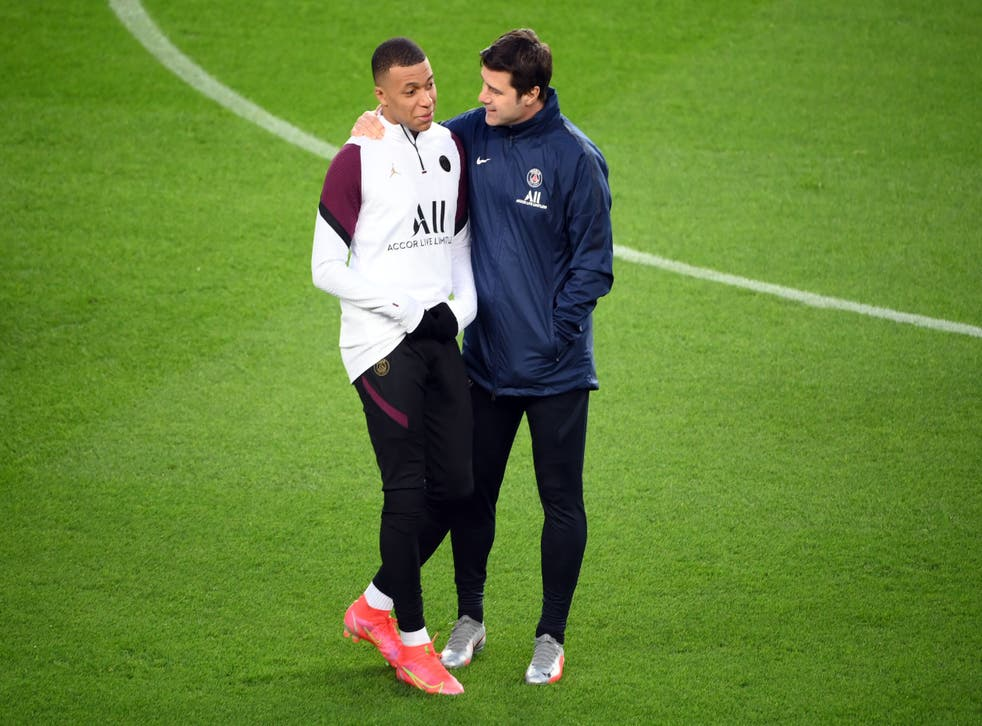 <p>PSG's Mauricio Pochettino and Kylian Mbappe face Manchester City on Wednesday</p>
