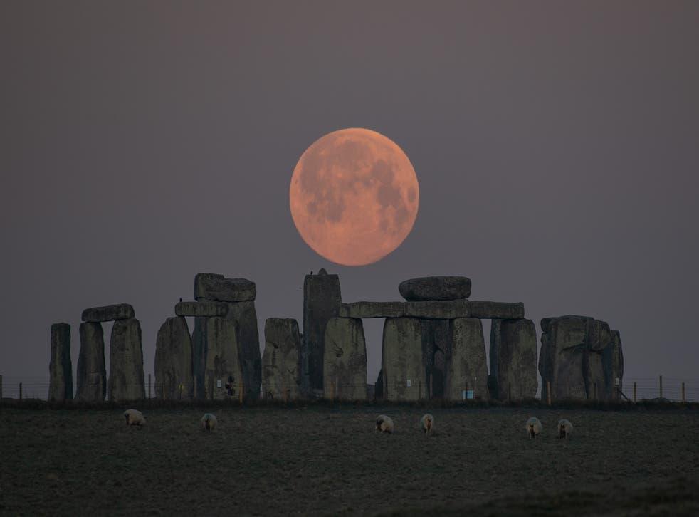 "<p>""Pink"" Supermoon over Stonehenge in Salisbury, UK last night.</p>"