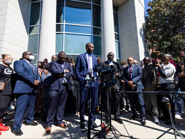 <p>Attorney Bakari Sellers (C), who is representing the family of Andrew Brown, speaks outside the Pasquotank County Sheriff's Office in Elizabeth City, North Carolina on 26 April 2021</p>