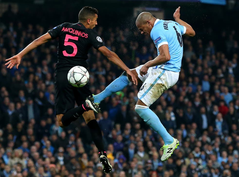 PSG's Marqinhos and Manchester City's Fernandinho clash in a 2016 meeting between the clubs