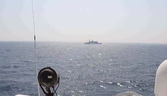 <p>Iran's Islamic Revolutionary Guard Corps Navy ship conducted an 'unsafe and unprofessional action' by crossing the bow of the Coast Guard patrol boat on 2 April</p>