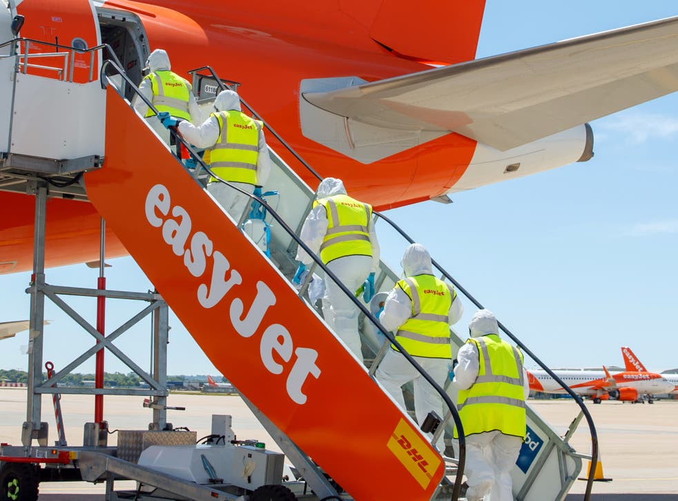 Getting ready: ground staff preparing an easyJet plane for departure, ahead of the airline's resumption of service in summer 2020