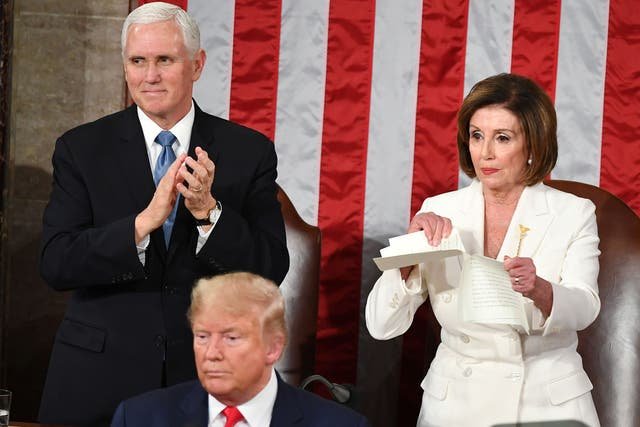 <p>Nancy Pelosi tears up Donald Trump's State of the Union speech in 2020</p>