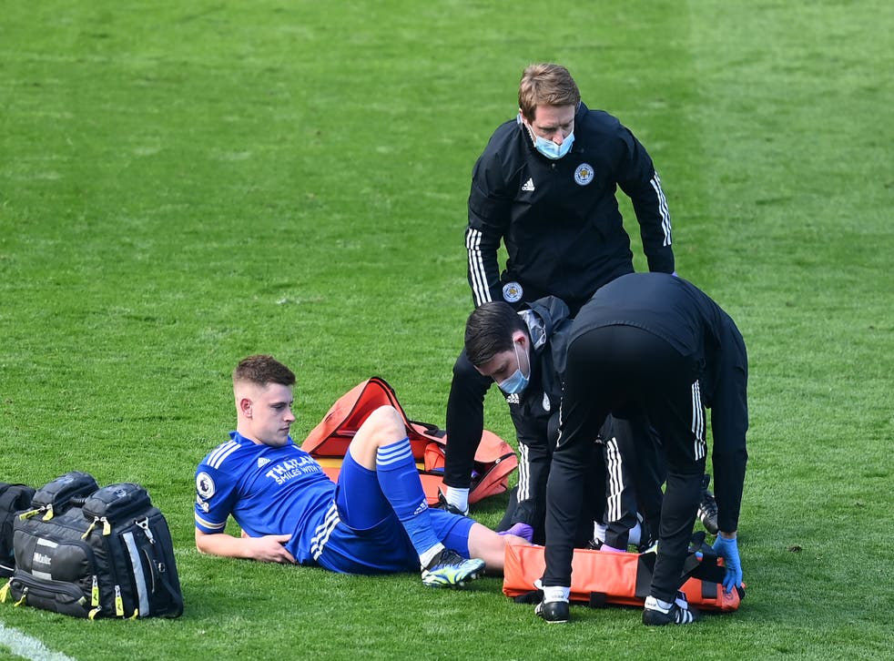 <p>Harvey Barnes suffered the injury against Arsenal in February</p>