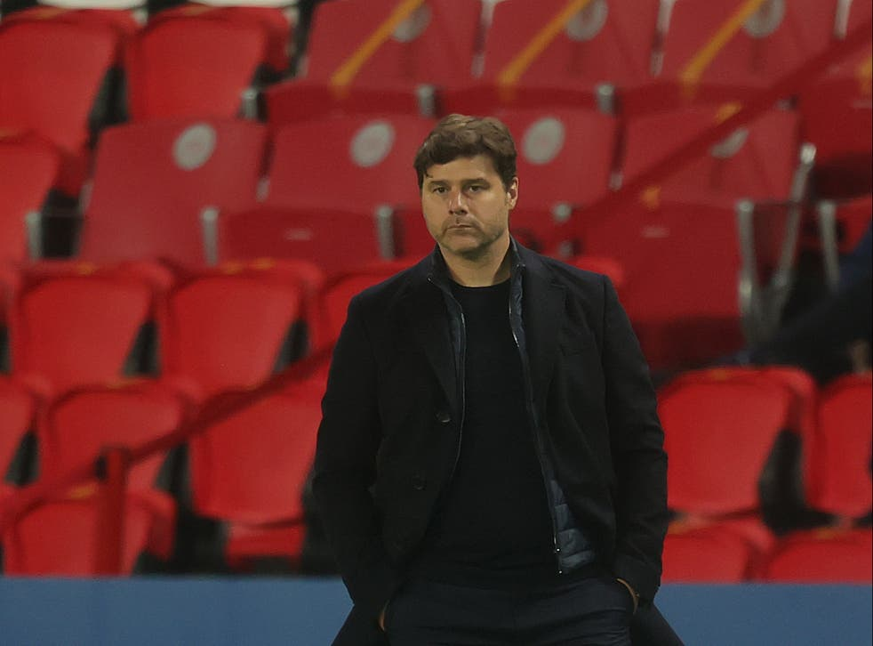 Mauricio Pochettino reacts to his PSG side's defeat by Manchester City