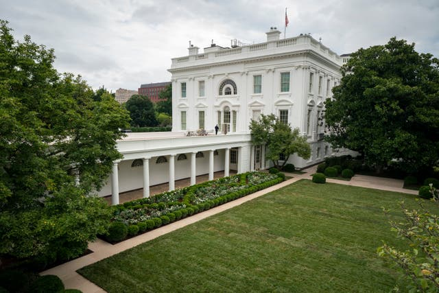 <p>A view of the renovated Rose Garden at the White House</p>