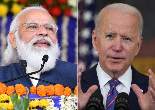 """El presidente Joe Biden ha dicho que está enviando """"una serie completa"""" de ayuda a la India, incluida la maquinaria para fabricar vacunas."""
