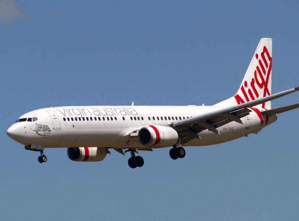 The Virgin Australia flight landed five hours behind schedule