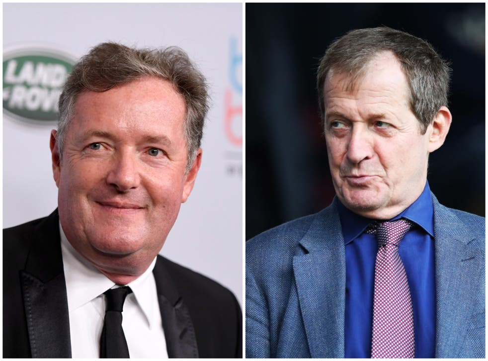 <p>Alastair Campbell, right, will co-present Good Morning Britain for a few days next month. Piers Morgan, right, left the programme in March</p>