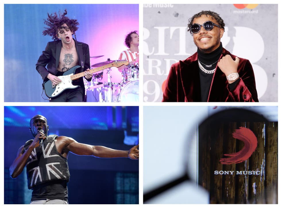 Top left clockwise: Matty Healy of The 1975, AJ Tracey, the Sony Music label, and Stormzy