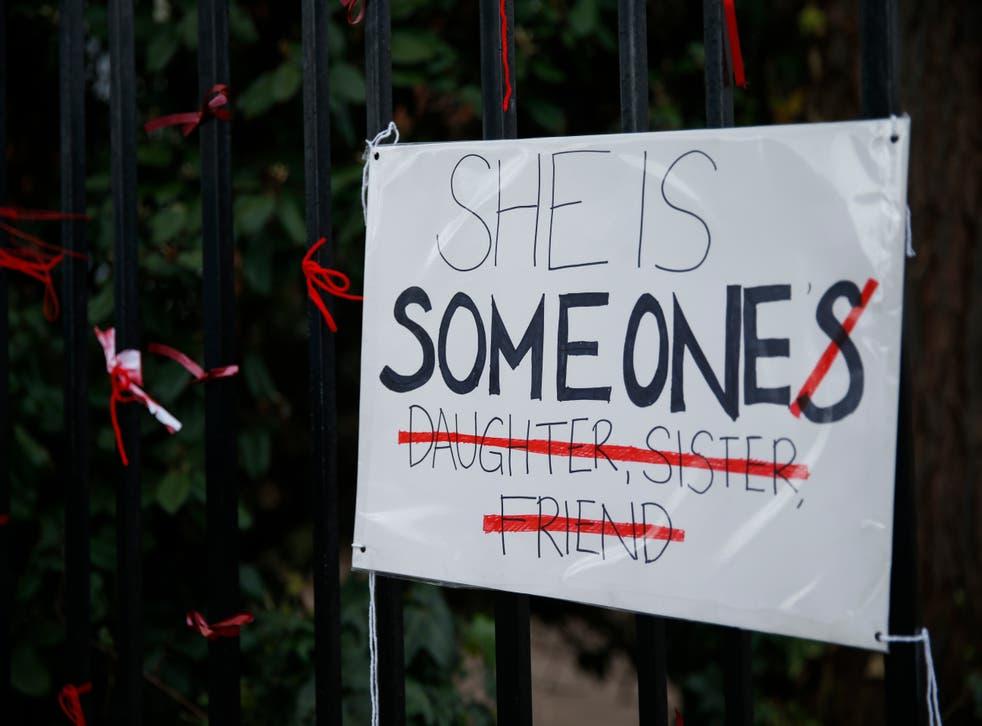 <p>A placard outside James Allen's Girls' School (Jags) in London protests against 'rape culture'</p>