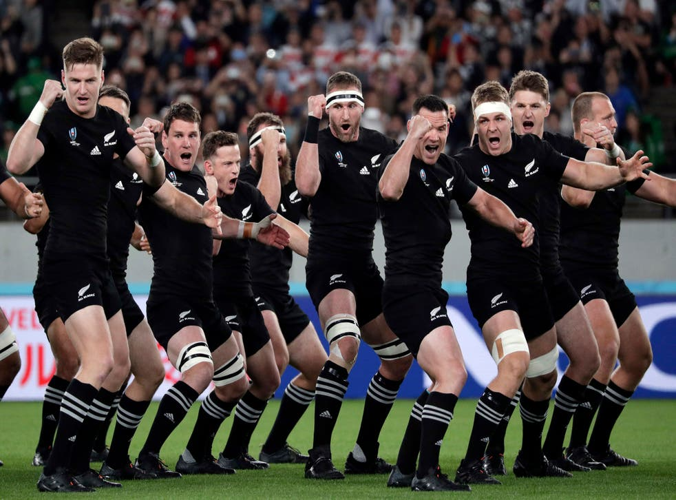 All Blacks players perform the Haka at the World Cup