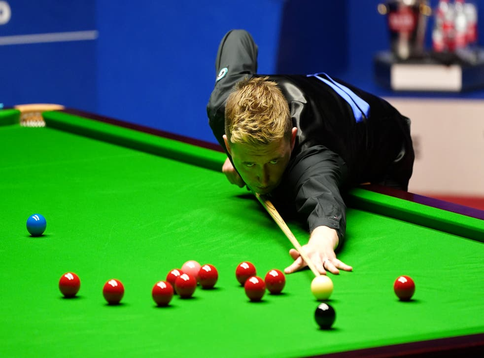 Kyren Wilson in action at the Crucible