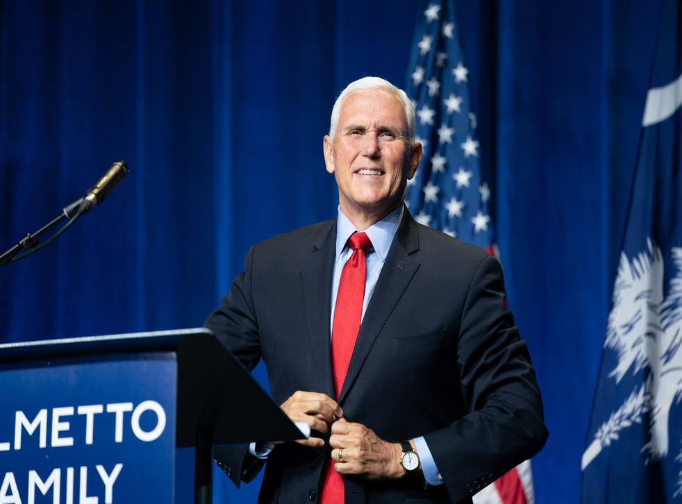<p>Former Vice President Mike Pence speaks to a crowd during an event sponsored by the Palmetto Family organisation on 29 April, 2021 in Columbia, South Carolina. The address was his first since the end of his vice presidency</p>