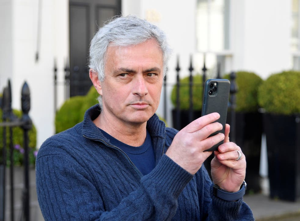 Jose Mourinho outside his west London home